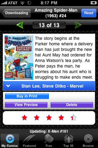 Un'applicazione per i fumetti Marvel su App Store