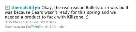 Bulletstorm è nato per ostacolare Killzone 3