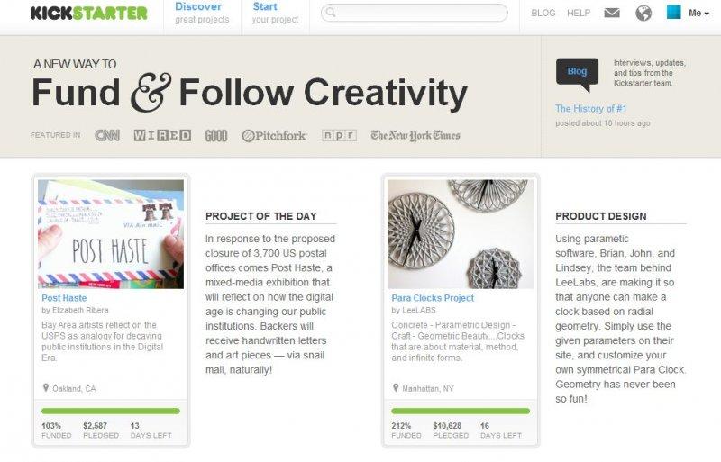 La homepage di Kickstarter