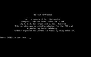African Adventure per PC MS-DOS