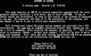 Caverns of Zoarre per PC MS-DOS