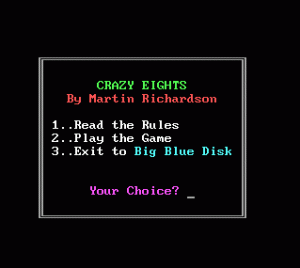 Crazy Eights per PC MS-DOS