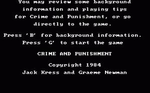 Crime and Punishment per PC MS-DOS