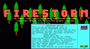 Firestorm: The Forest Fire Simulation Program per PC MS-DOS