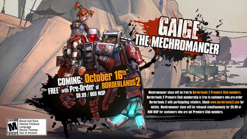 Borderlands 2 - Confermata la data di Gaige, Mechromancer