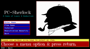 PC-Sherlock: A Game of Logic & Deduction per PC MS-DOS