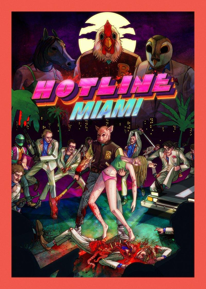 Un poster splatter per Hotline Miami