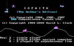 Sopwith: The Author's Edition per PC MS-DOS