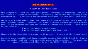 The Astronomy Quiz per PC MS-DOS