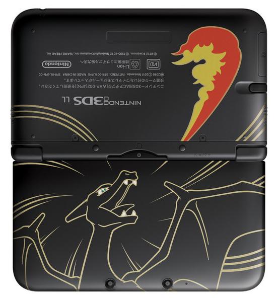 Un Nintendo 3DS XL a tema Charizard