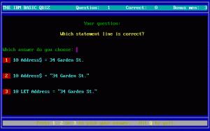 The IBM BASIC Quiz per PC MS-DOS