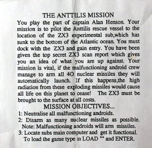 The Anttilis Mission per Sinclair ZX Spectrum