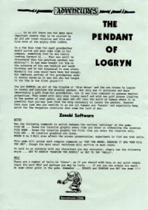 The Pendant of Logryn per Sinclair ZX Spectrum