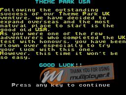 Theme Park U.S.A. per Sinclair ZX Spectrum