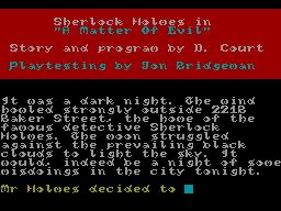 Sherlock Holmes: A Matter of Evil per Sinclair ZX Spectrum
