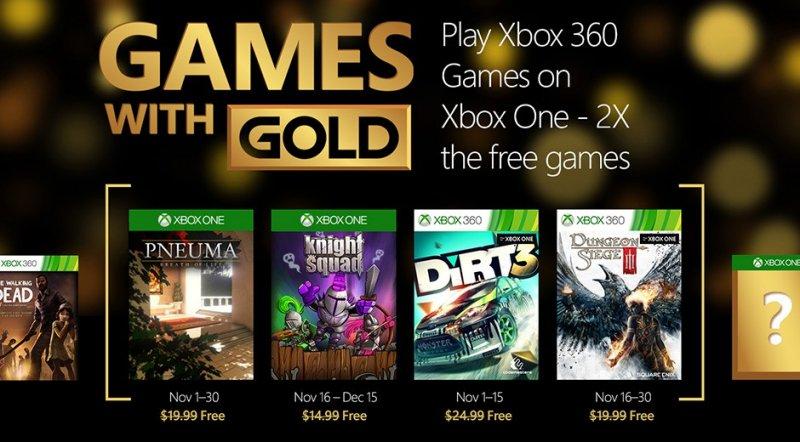 Ecco i titoli gratuiti di novembre per il programma Games with Gold su Xbox One e Xbox 360