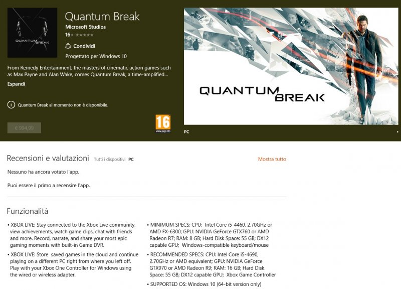 Quantum Break è apparso ufficialmente sul Windows Store