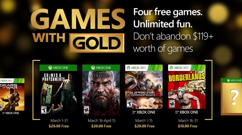 Games with Gold - Marzo 2016
