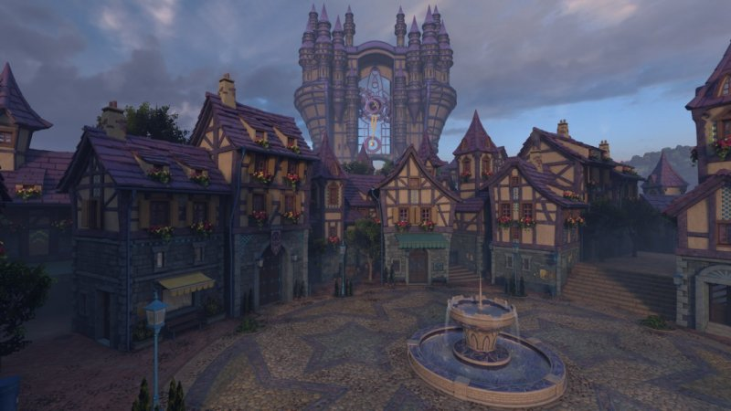 La piazza di Daybreak Town in Kingdom Hearts HD 2.8 si presenta con uno screenshot