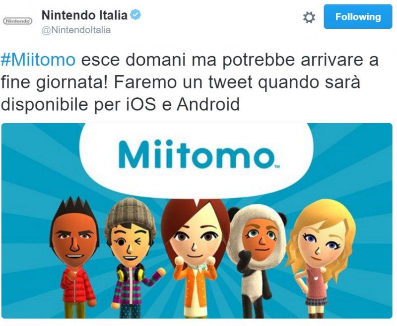 Un tweet di Nintendo Italia suggerisce che Miitomo potrebbe essere scaricabile già da questa sera