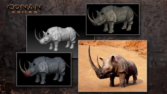 I rinoceronti fanno paura in Conan Exiles