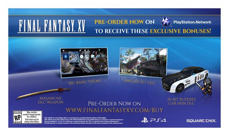 Square Enix ha svelato gli incentivi per chi prenoterà l'edizione digitale di Final Fantasy XV