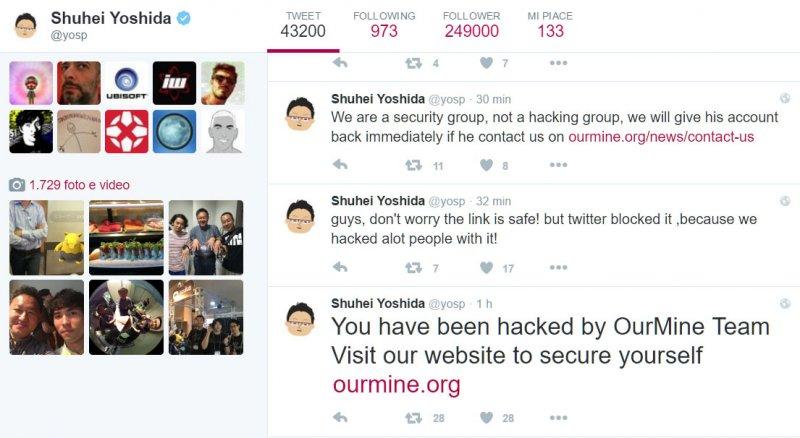 L'account Twitter di Shuhei Yoshida è stato violato