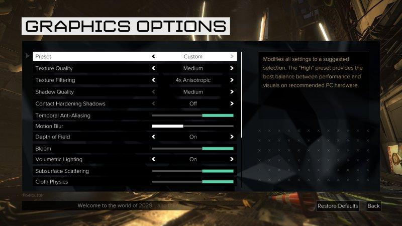 Rivelati i settaggi grafici di Deus Ex: Mankind Divided su PC