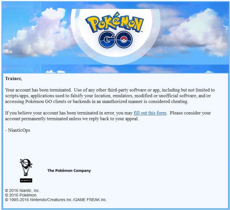 Niantic ha inviato notifiche di ban ad alcuni utenti di Pokémon GO