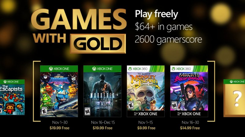 Games with Gold - Novembre 2016