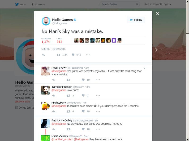 [AGGIORNAMENTO] Hello Games dichiara su Twitter che No Man's Sky è stato un errore
