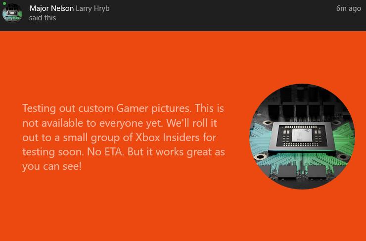 Immagini personalizzate in arrivo per gli account utente di Xbox One