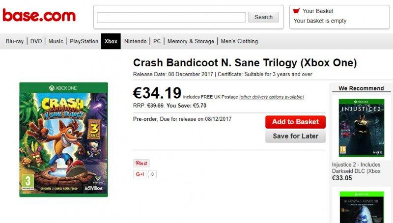 Nuovo avvistamento della versione Xbox One di Crash Bandicoot N. Sane Trilogy