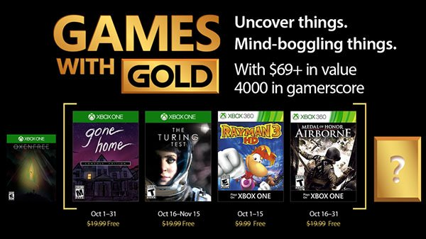 Ecco i Games With Gold di ottobre: Gone Home: Console Edition, The Turing Test e altri