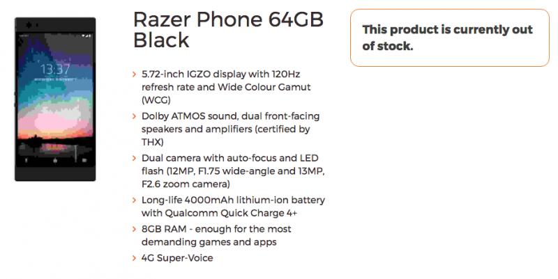Compare il presunto Razer Phone, con specifiche impressionanti