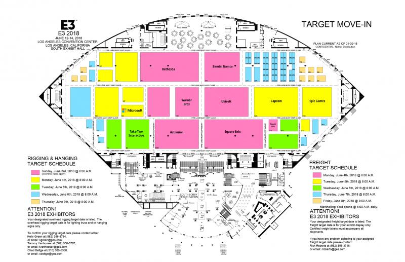 Ecco le assegnazioni provvisorie degli spazi dello showfloor dell'E3 2018: a Sony lo spazio più grande