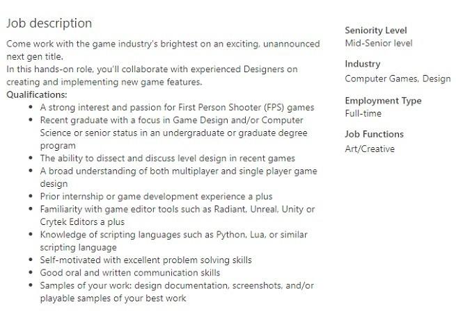Call Of Duty Infinity Ward Job Post 1138216