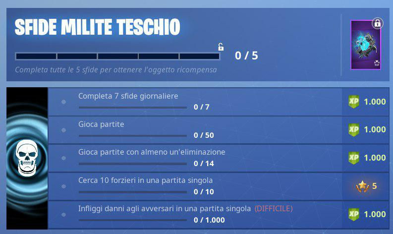 Fortnite Sfide Milite Teschio 1