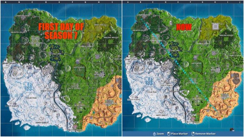 fortnite neve espansione mappa gioco 2 - season 7 fortnite mappa
