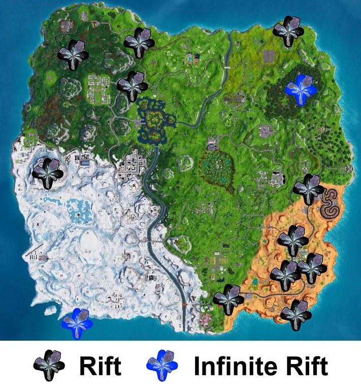 Fortnite Posizione Mappa Rift Fenditure Stagione 7 2