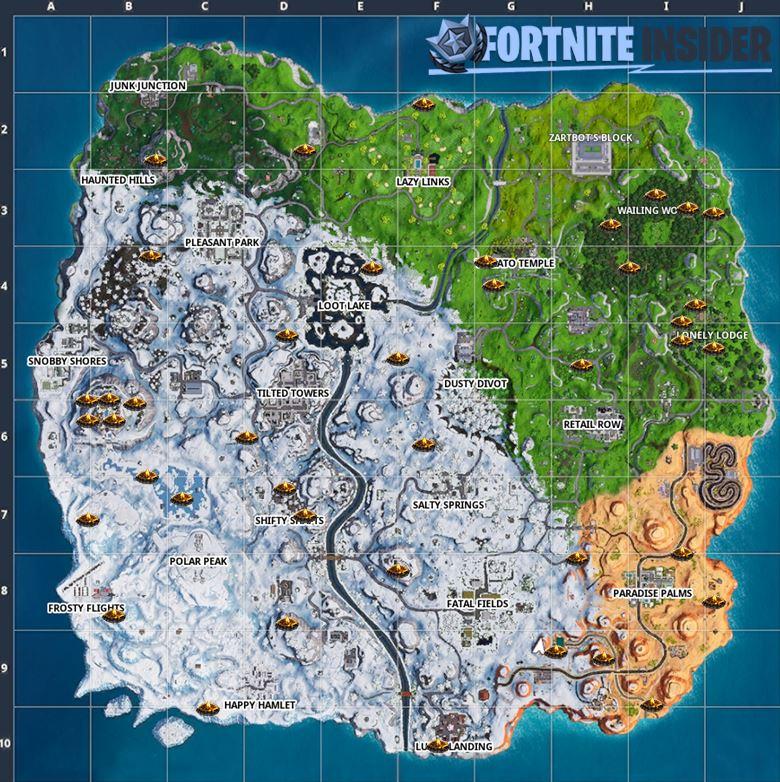 Fortnite Posizione Tutti Falo Ambientali Mappa 1