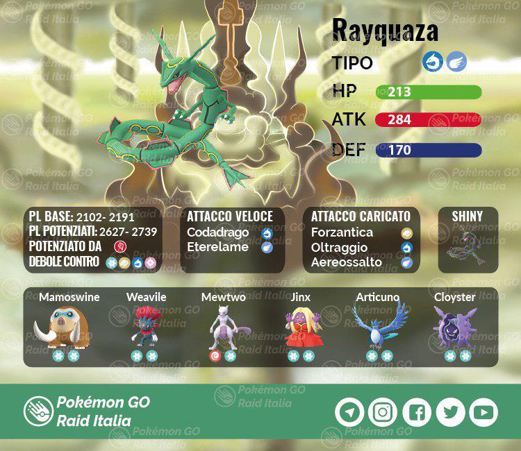 Pokemon Go Weekend Raid Speciali Rayquaza Squadra Consigli 1