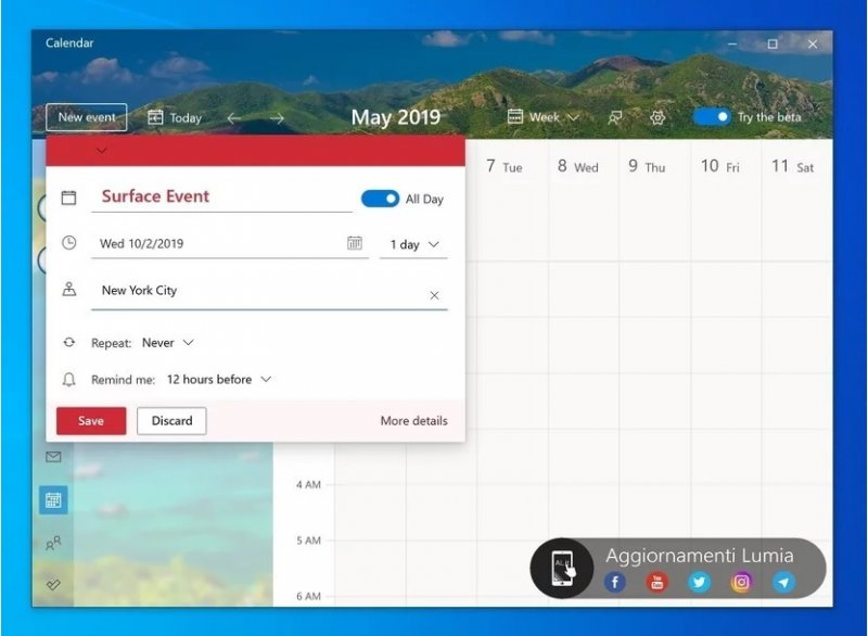 Calendario Per Pc.Windows 10 App Calendario Nuova Interfaccia Con Il Prossimo