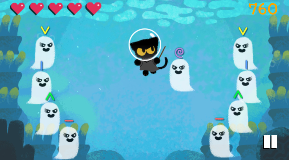 Google, Hallowen doodle is a video game with a sub magical cat
