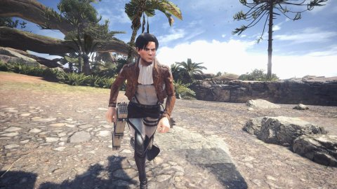 Monster Hunter World and Attack of the Giants, a mod to play with Levi Ackerman