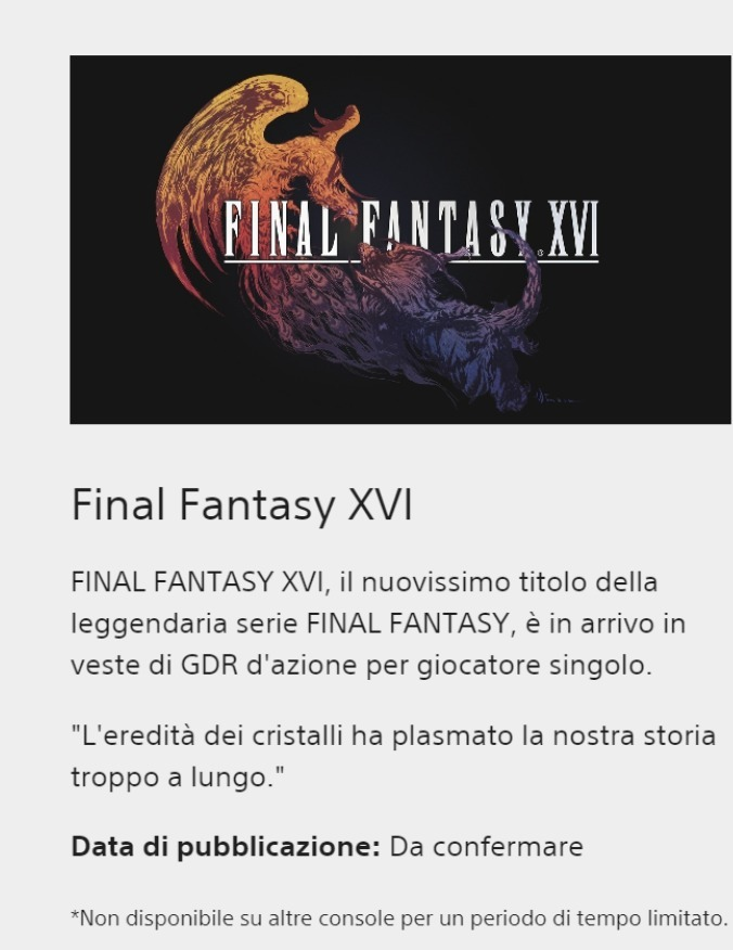Final Fantasy 16, notes from the official PlayStation site.