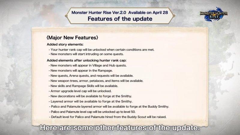Monster Hunter Rise, 2.0 resumen