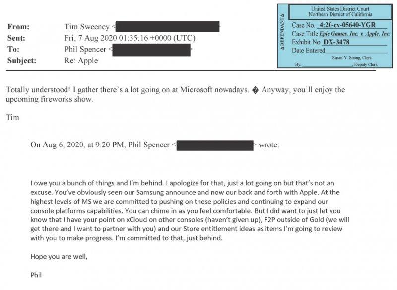 E-mail de resposta de Phil Spencer.