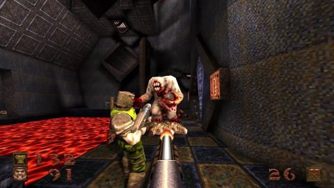 Quake: the remaster added a level piece that was deleted from the original