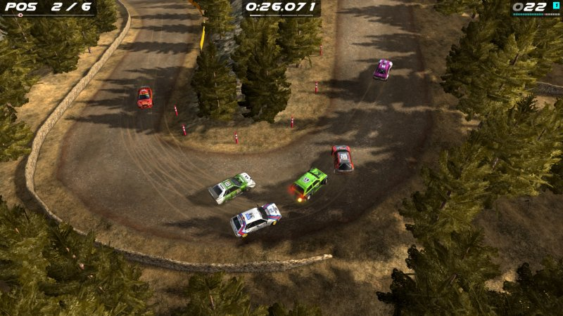 Rush Rally Origins também apresenta um modo de corrida com vários carros na pista